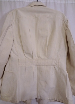 Linen suit with belt back