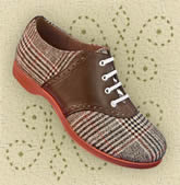 Saddle Shoe - available in brown tweed, black tweed, and classic black and white