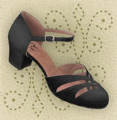 D'Orsay Sandal - available in black satin, tan satin, and silver sparkle