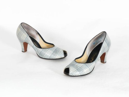 1950's plaid peep toe heels