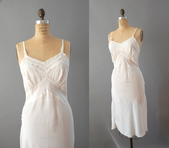 If only more things were cut on the bias - so flattering and comfy, as this 30's/40's rayon slip probably is...