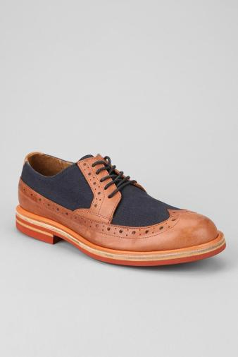 Men's J Shoes Foxton Oxford - love the navy canvas and brown leather combo