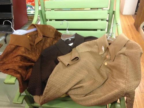 Menswear knits in shades of brown, at Sweet Lorain