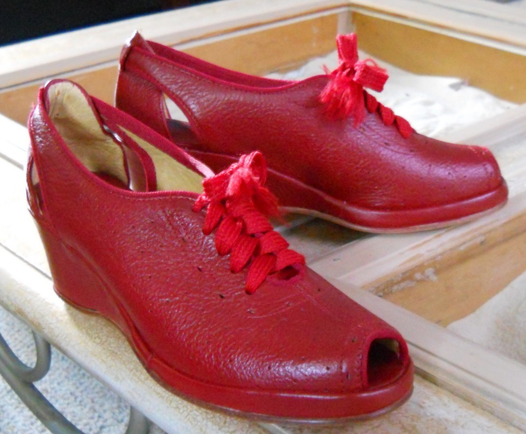 "Red wedges, size 6, starting bid $10 - the listing says ""used only once as I have no sense of rhythm"" - my heart goes out to her!"