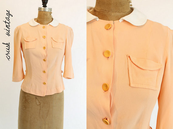 40's blouse with pocket detail and contrast Peter Pan collar