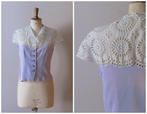 40's blouse with cutwork lace