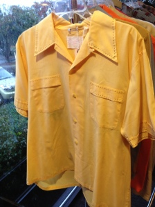 Yellow men's shirt with top stitching, at Raleigh Vintage