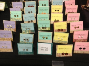 Earrings made from cute buttons, by Chatterblossom