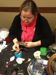 Miss Sharon Crawford, busy with a custom piece.