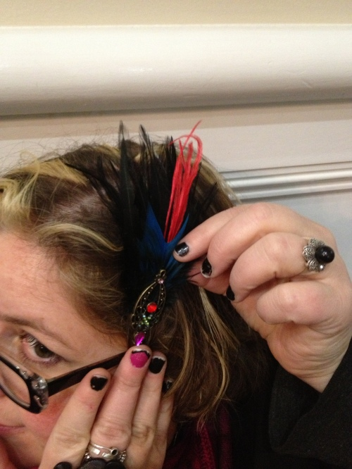 Sharon shows off a custom hair piece.