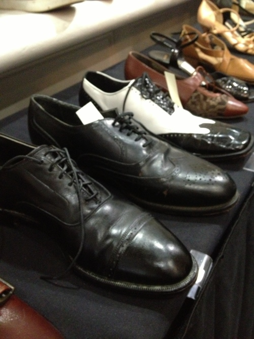 An array of men's footwear at the Lindy Focus consignment shop.