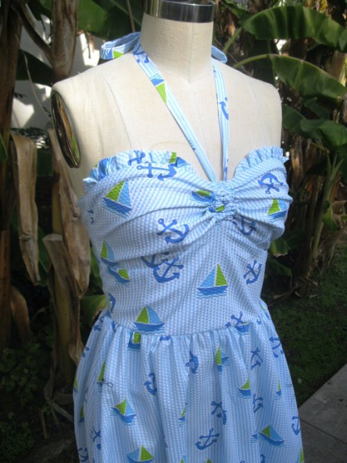 Nautical halter dress with smocked back