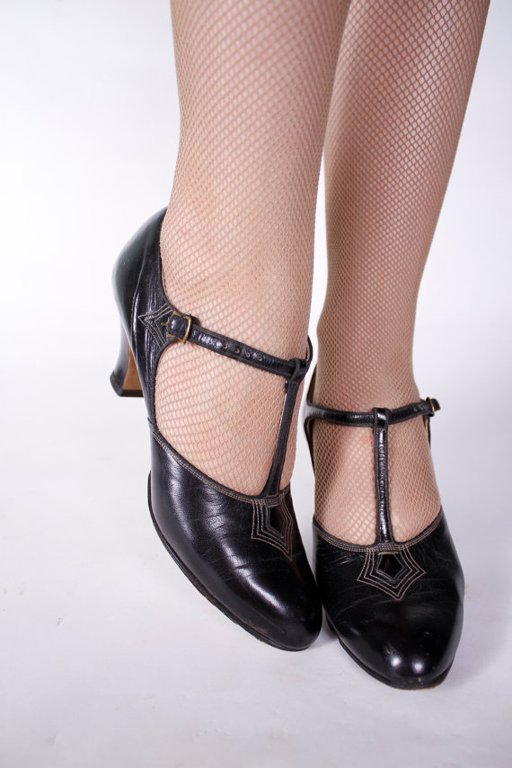 1930's t-straps, size 4.5 - I know you tiny feet girls are out there and you want something more than a Mary Jane!  There's another pair of satin wedding shoes in this size from the 30's...