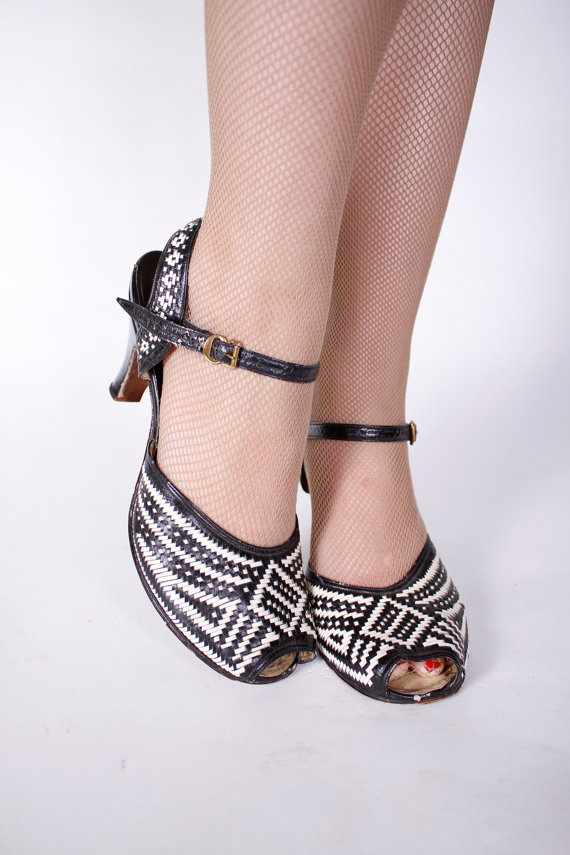 The only time I've ever wished for a larger foot - woven 50's heels, size 8/8.5
