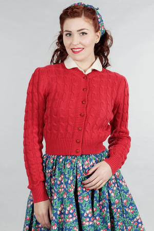Cropped (or rather the right length?) cable knit cardigan - available in red, navy, pink, and green