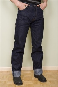 Classic men's jeans - high waist, straight leg, cuff or hem.  Looks good to me!