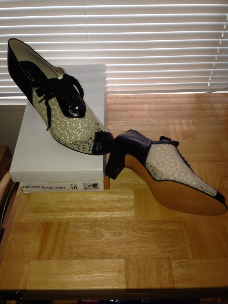 Charlotte in black/ivory, size 10, $79.99 etc.