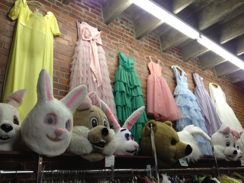 This is part of the costume section - I kind of like the idea of pairing these fluffy animal heads with vintage prom dresses, hehehehe