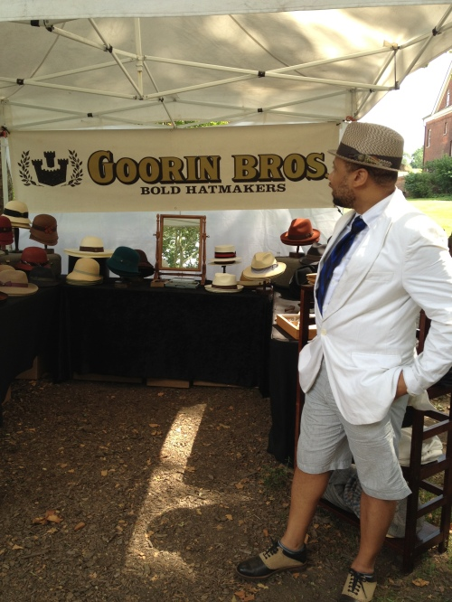 Looking into the Goorin Bros. booth