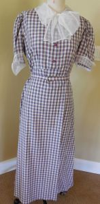 Silk plaid 1930's repro with adorable collar and cuffs