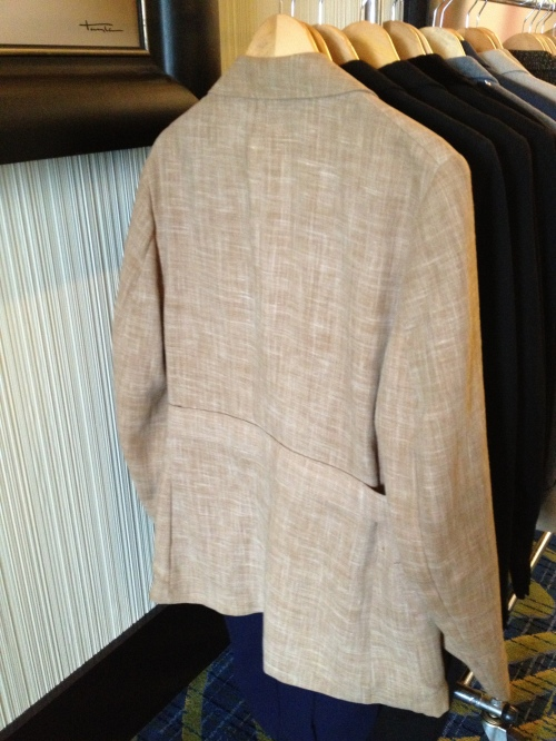 Belt back jacket spotted at Brown & Williams - definitely a good sign