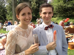 Swing dancers Brittany and Brian enjoy some gourmet popsicles at the Gatsby Picnic