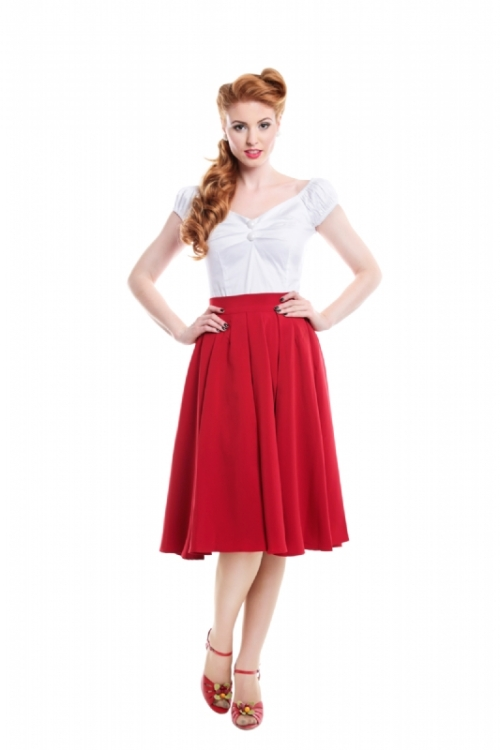 "A lovely full ""swing"" skirt in red"