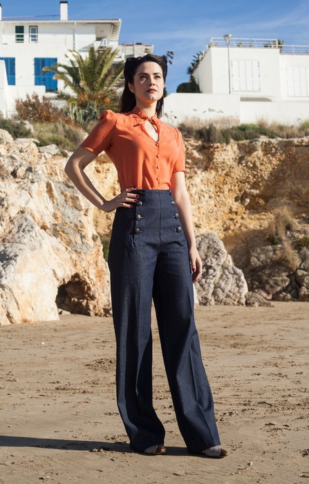 High waisted sailor pants in denim!  Also available in black.  Love the pairing with the coral blouse!