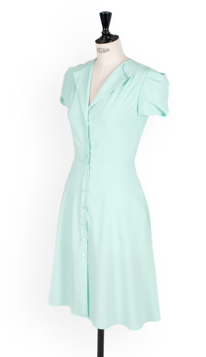 I really like the proportions of this shirtwaist - Mia light blue tea Dress, also available in pink, yellow, and two prints.