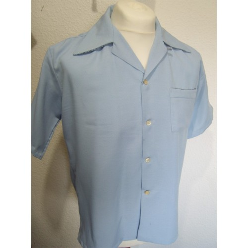 Blue rayon short sleeved shirt, check out that collar!