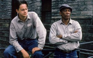 Tim Robbins and Morgan Freeman in classic workwear from the film  The Shawshank Redemption.