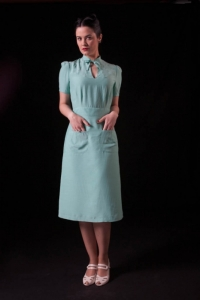 The Berlin dress in mint in the narrower skirt option, with pockets.