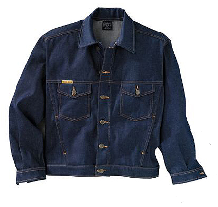 Classic denim jacket, meant to be worn with a high rise pant.