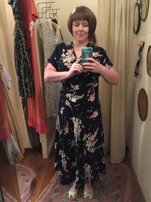 1940's rayon dress at Sweet Lorain.