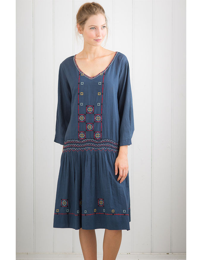 That elusive 20's day dress reproduction!  The Matilda Dress in indigo; also available in silver.