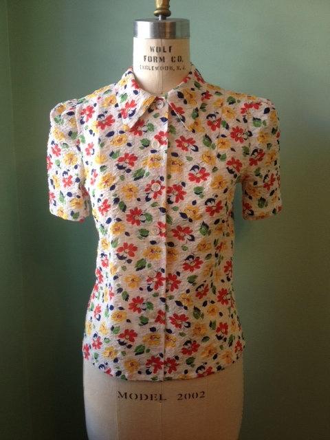 Floral 1930's/40's seersucker blouse