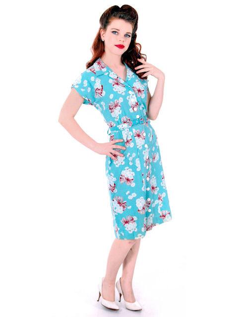 Seersucker 1940's day dress