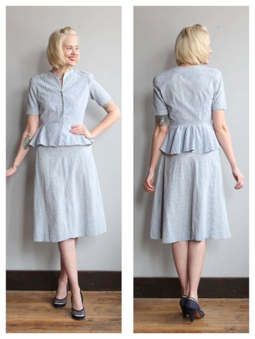 1940's summer suit with peplum