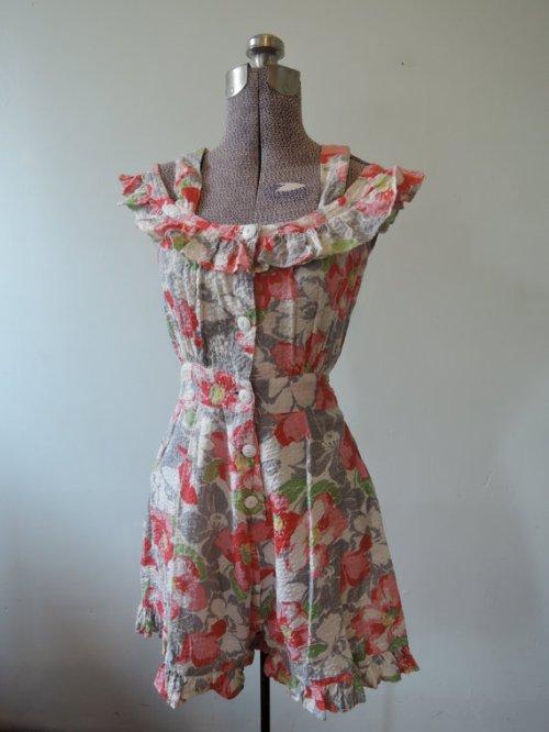 Floral 1940's seersucker romper