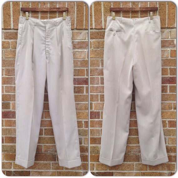 1940's/50's gabardine blend brown and white striped trousers