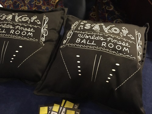 A Savoy Ballroom pillow, perfect for every Lindy Hopper's couch!