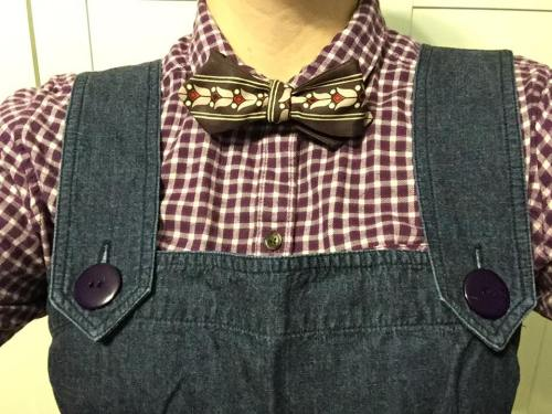 My pair, styled for OcTieBer with a vintage bow tie and flannel shirt.